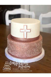 Christening, Baptism or First Communion Cake with Rose Gold Glitter and Cross BA-107