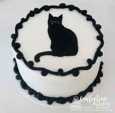 Black Cat Image Round HOL-147