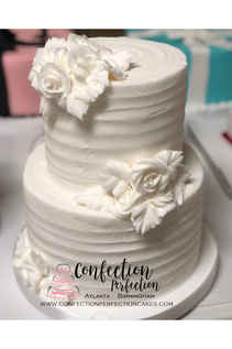 2 Tier White Rigid Buttercream Cake FB-140