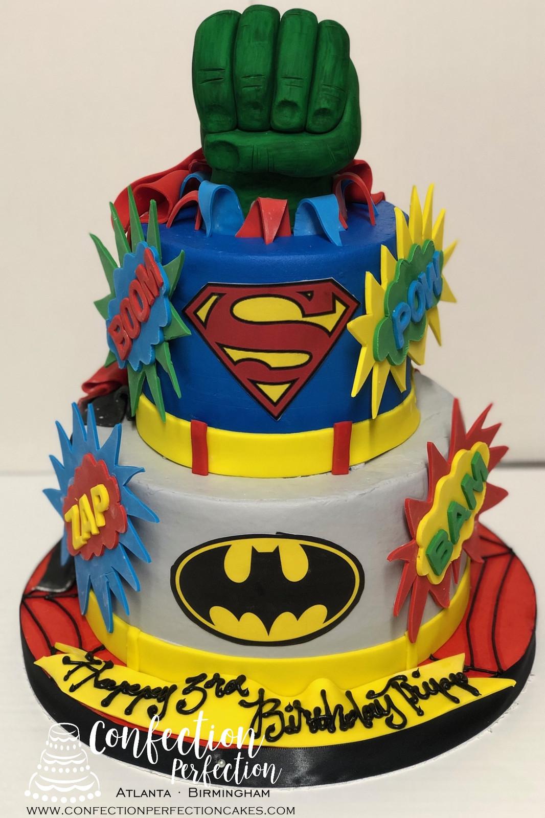 Batman Superman And Hulk Birthday Cake CBB 129