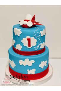 Airplane Theme First Birthday Cake BC-147