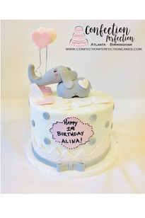 Elephant Theme First Birthday Cake BC-153