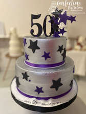 50th Silver and Stars Tiered Birthday Cake FB-188