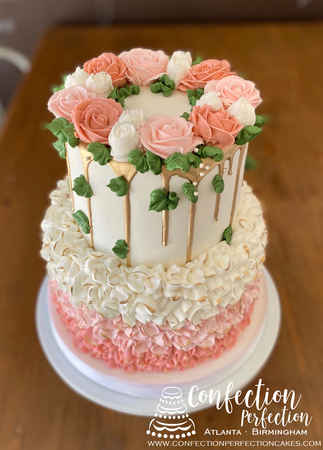 Shades of Pink Roses Gold Drip Buttercream Ombré Ruffles SW-106