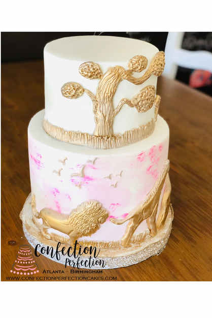 Watercolor and Gold Jungle Zoo Animal Theme Cake