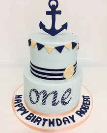 2 Tier Nautical First Birthday Cake  BC-111