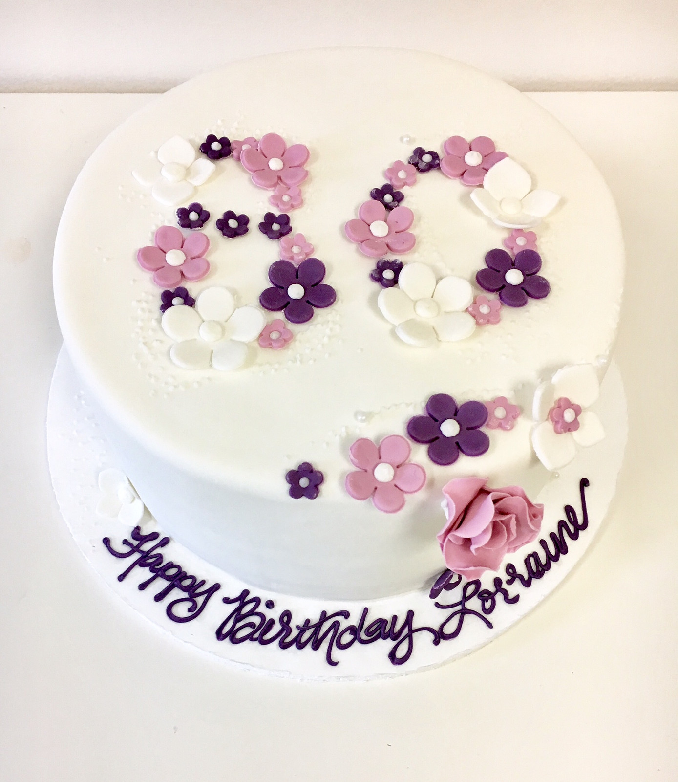 Fondant Flower Birthday Cake Fb 116