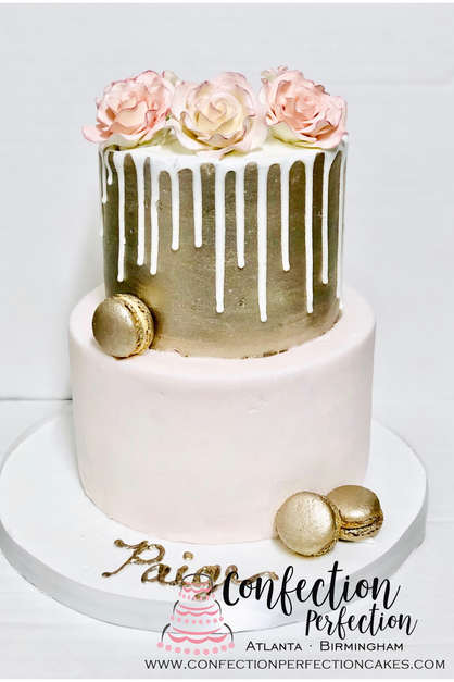 Metallic Gold 2 Tier Cake with Ganache Drip, Macarons and Roses FB-143