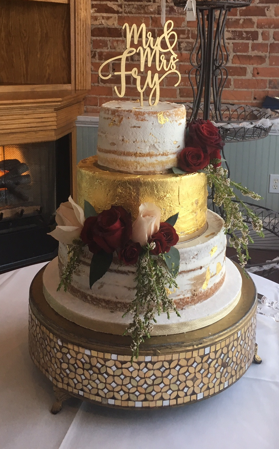 Barely Naked Gold Leaf Wedding Cake Wc141