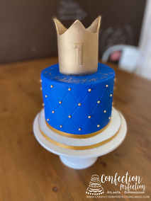 Crown Boy First Birthday Cake with Gold Dragees BC-161