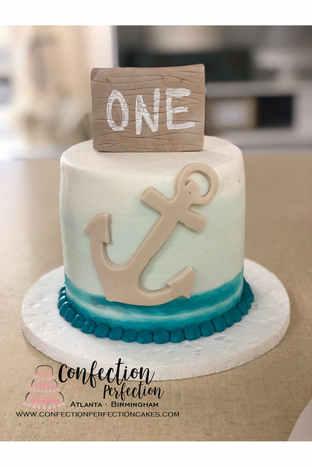 Nautical Anchor Theme First Birthday Cak