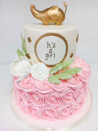 Pink Rosette and Gold Elephant Cake BB-118