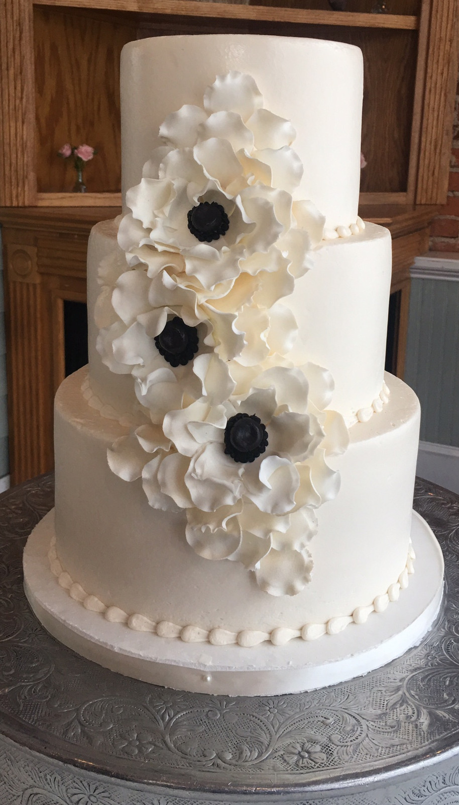 Marvelous Smooth White Buttercream Wedding Cake! Ruffled Gumpsaste Floral. Add Any  Personal Touch Or Changes To Any Of Our Award Winning Wedding Cake Designs.