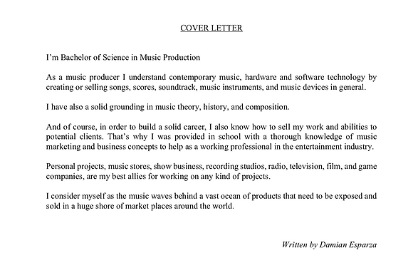 music industry cover letter