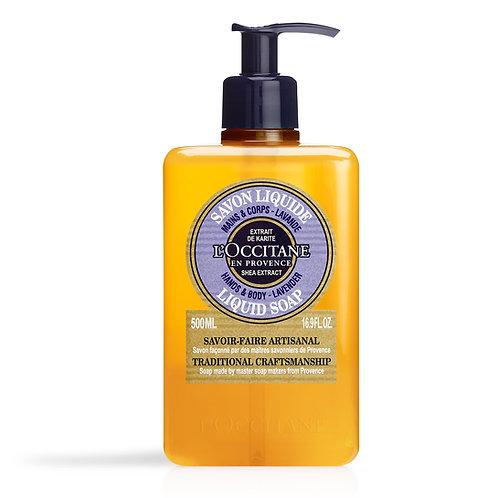 Loccitane Luxury Size Shea Lavender Hands & Body Liquid Soap 500mls