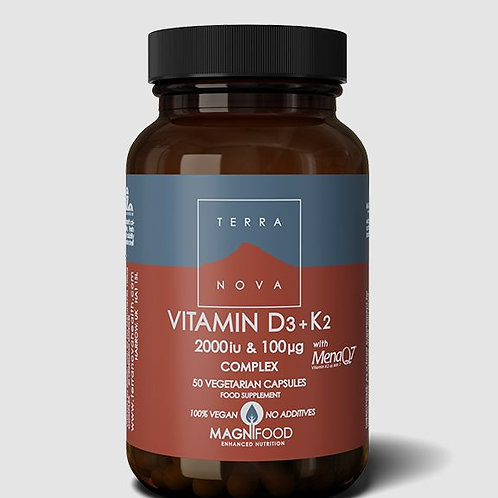 Terra Nova Vitamin D3+K2 2000IU + 100IU 50 caps