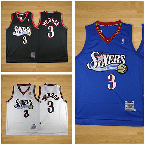 Youth Allen Iverson Throwback Black, White, Blue