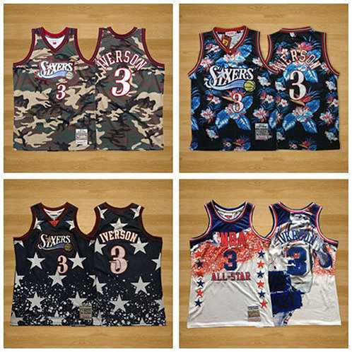 Men Allen Iverson Throwback Camo, Floral Fashion, Navy 4th, All-Star