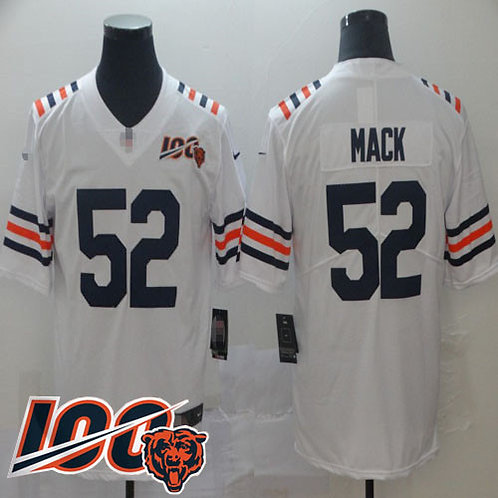 new concept 0a607 a4b54 Men Khalil Mack Limited 100th Season White, Navy, Orange, Rush, Inverted |  YUKIJERSEY