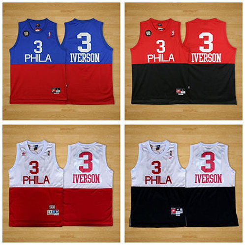 Men Allen Iverson Throwback Blue/Red, Red/Black, White/Red, White/Black