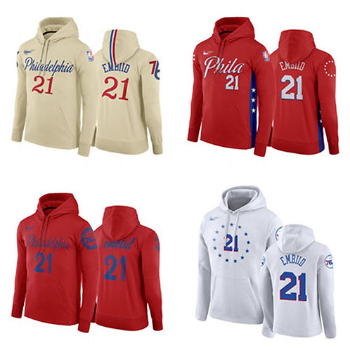 Men Joel Embiid Hoodie Cream, White, Red