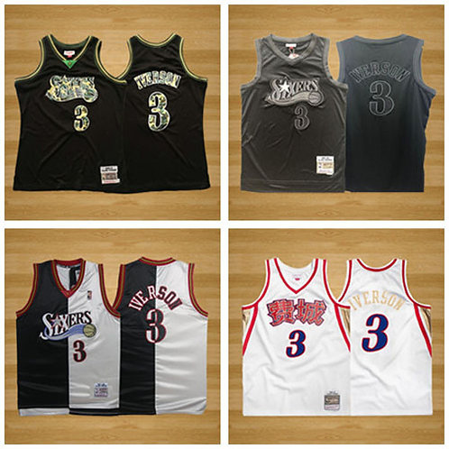 Men Allen Iverson Throwback Black/Camo, Black, Black/Split, White/Chinese