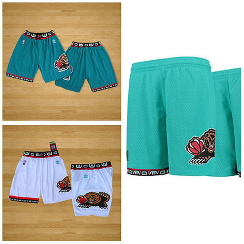 Men Grizzlies Shorts Throwback Teal, White