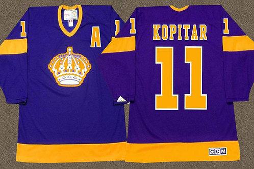 Men Anze Kopitar Throwback Purple, Gold