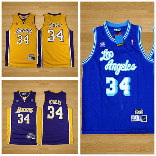 Men Shaquille O'Neal Throwback Gold, Purple, Blue