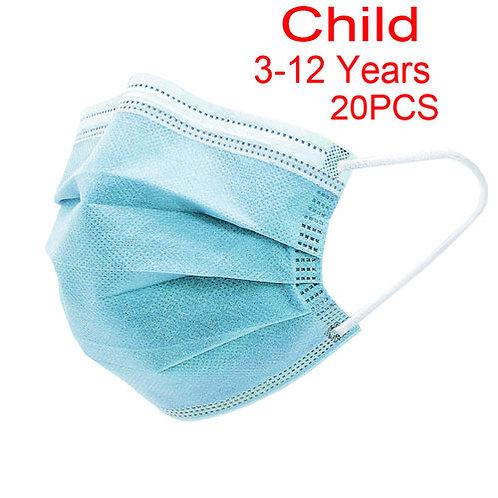 Child Disposable Civil Mask 3-Layer Full Face Mask (20packs)