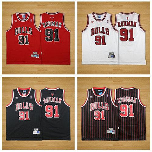 Men Dennis Rodman Throwback Red, White, Black, Black/Stripe