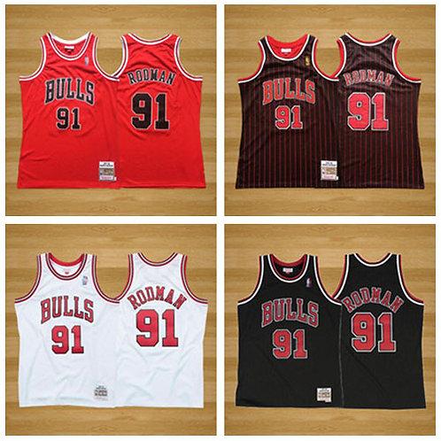 Men Dennis Rodman 1997-98 Throwback Red, Black, White, Black/Stripe