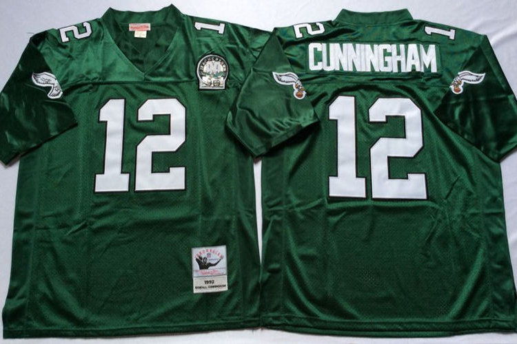 pretty nice 33dbb 972f5 Men Randall Cunningham Throwback Midnight Green, White | YUKIJERSEY