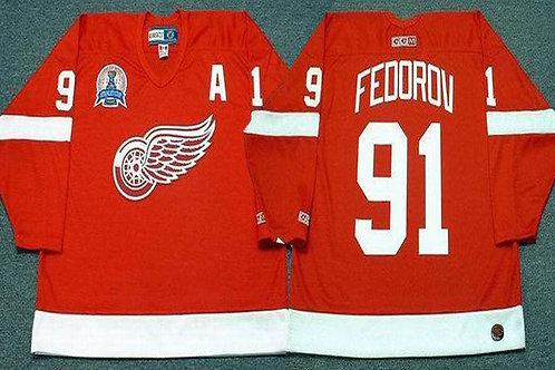 Men Sergei Fedorov Throwback 2002 Red, White