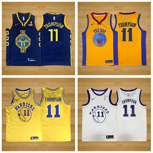 Men Klay Thompson City Edition Finals Champions Navy Blue, Gold, White