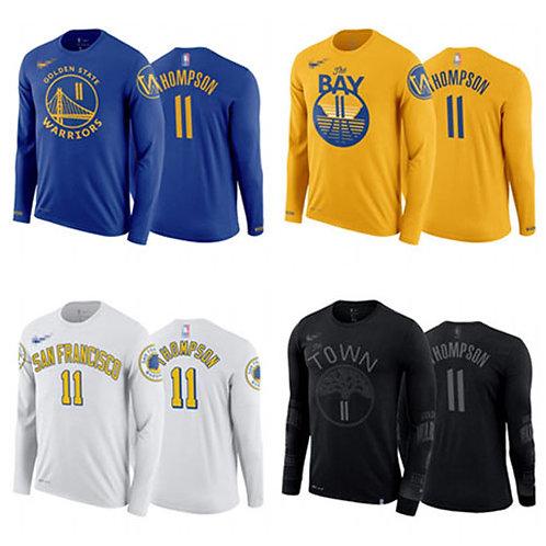 Men Klay Thompson T-Shirt Long Sleeve Royal Blue, Gold, White, Black