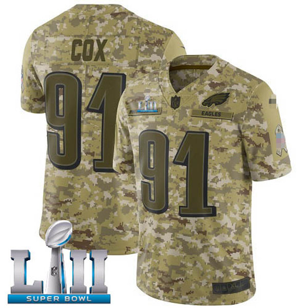 competitive price 1afde a2890 Men Fletcher Cox Super Bowl LII Salute to Service Camo, Olive | YUKIJERSEY
