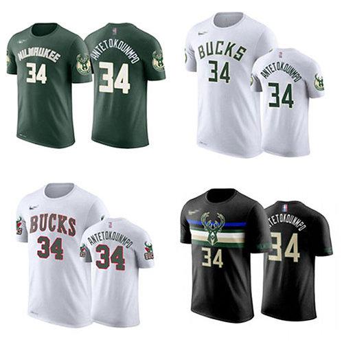 Men Giannis Antetokounmpo T-Shirt Green, White, Black