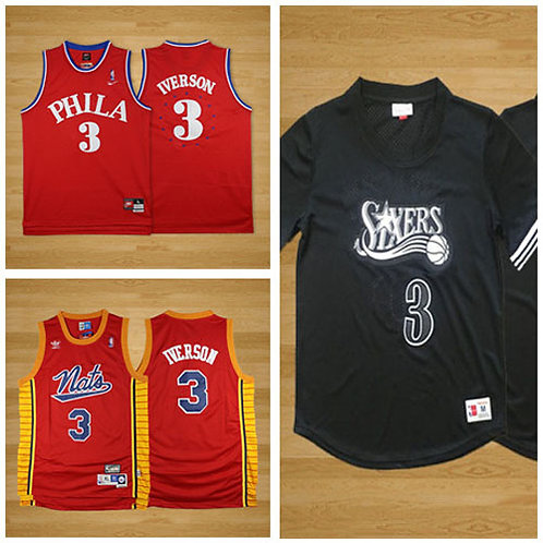 Men Allen Iverson Throwback Red, Red Classics, Black