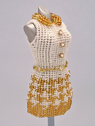 White and Gold Houndstooth Miniature Bead Dress with Crystalett Buttons & Shoes