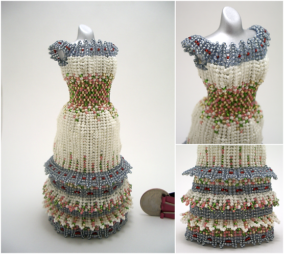 Floral Cream and Blue with Pink, Green, and Yellow Layered Miniature Bead Dress