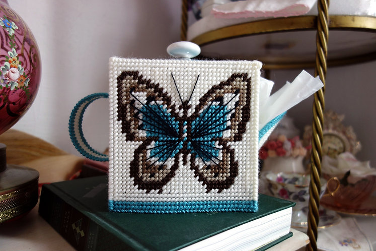 Blue Butterfly Teapot Needlepoint for Standard Tissue Box Cover