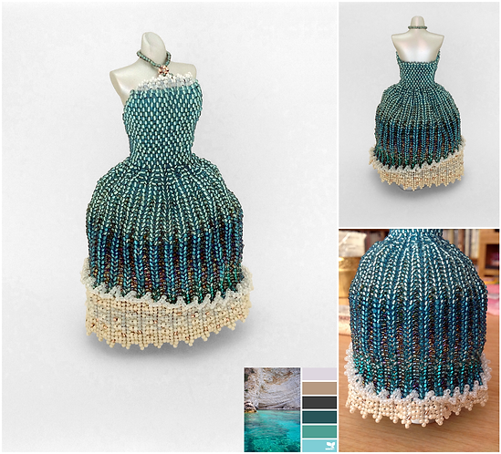 Ocean Blue, Cream, and Sandy Ball Gown Miniature Bead Dress