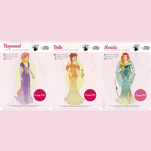 Set #1: Rapunzel, Belle, Merida in Art Nouveau from Hannah Alexander 50/50