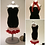 Thumbnail: Little Black Miniature Bead Dress with Red Scarf