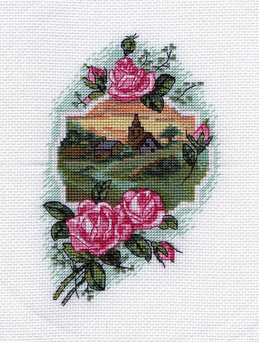 Rosy Respite - Pink Roses Framing Warm Field