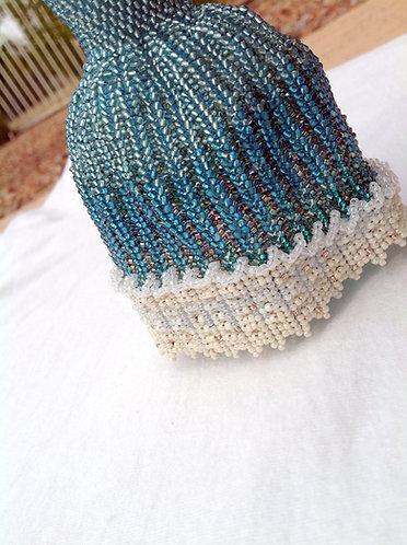 Ocean Blue, Cream, and Sandy Ball Gown Miniature Bead Dress