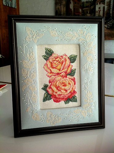 Two Pink and Yellow Roses with White Butterfly Padded Frame