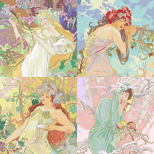 Alphonse Mucha's 1896 Seasons, Complex Set
