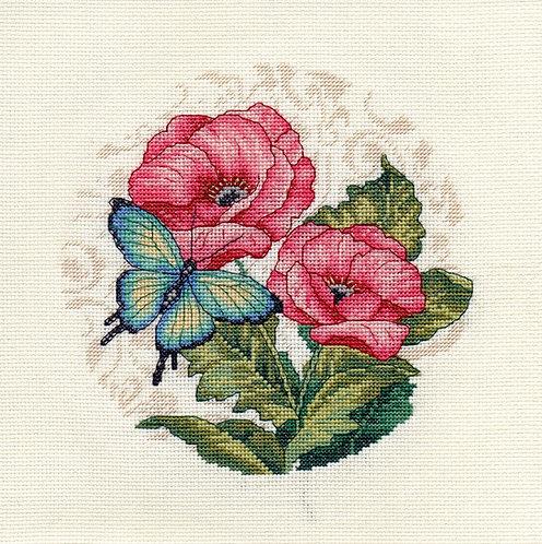 Blue Butterfly Beauty on Pink Flowers